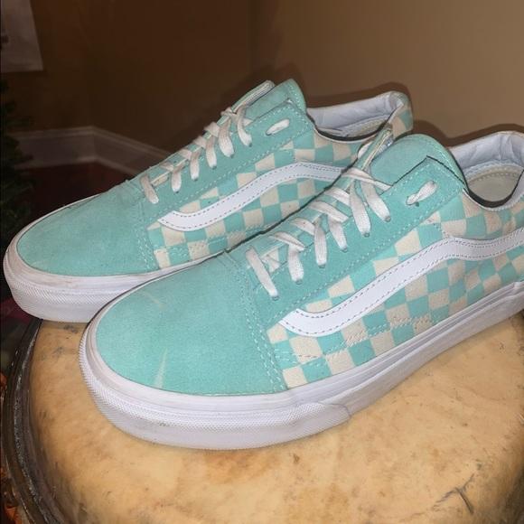 Vans Shoes | Teal Checkered Vans | Poshmark